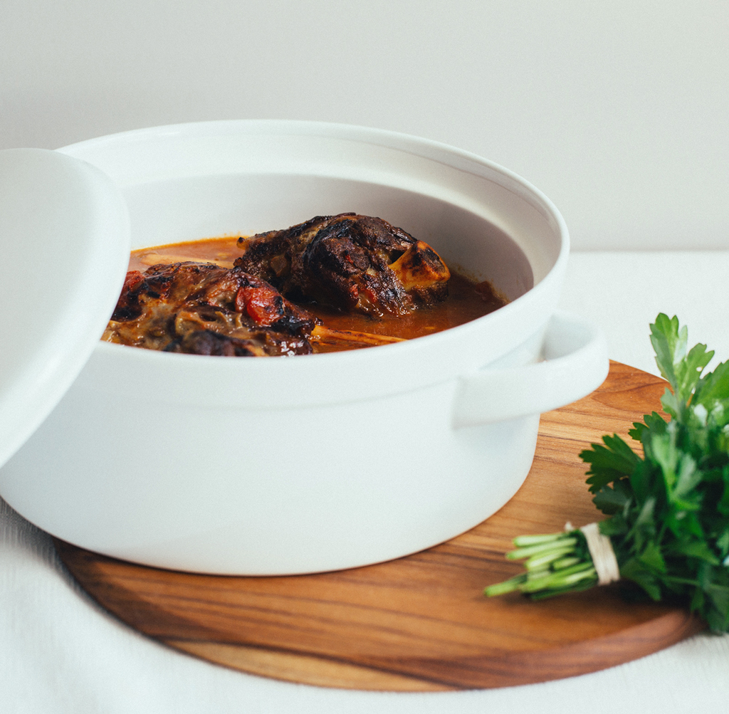 Lamb Shank recipe in a white casserole
